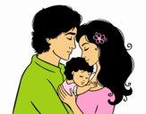 Desenho Família abraço pintado por Raynanah
