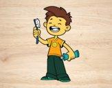 Desenho Criança com escova de dentes pintado por analoup