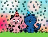 Desenho Gatos de aniversário pintado por Olaf