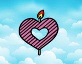 Vela em forma de coração