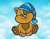 Desenho Gato com chapéu pintado por Thamary