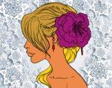 Desenho Penteado de casamento com flor pintado por bruninhabr