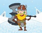 Desenho Viking com machado grande pintado por ImShampoo