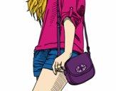 Desenho Menina com saco pintado por maria321