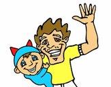 Desenho Pai e filho acenando pintado por eduardobar