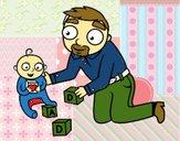 Desenho Pai jogando com o bebê pintado por eduardobar