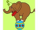 Desenho Elefante em cima de uma bola pintado por cledna