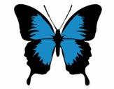 Desenho Borboleta com asas negras pintado por cledna