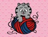 Desenho Gato com un novelo de lã pintado por Theo_2016