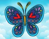Desenho Mandala borboleta pintado por cledna