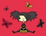 Desenho Menina com borboletas pintado por HASTINGS