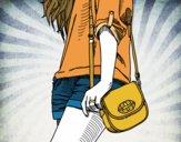 Desenho Menina com saco pintado por Leticiab