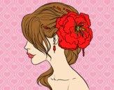 Penteado de casamento com flor