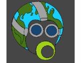 Terra com máscara de gás