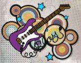 Desenho Guitarra e estrelas pintado por luzinda
