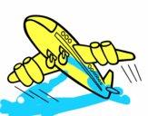 Desenho Aeroplano rápido pintado por GLOBA