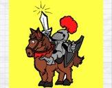 Desenho Cavaleiro a alçar a espada pintado por MILHANI