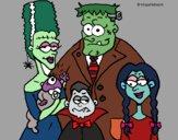 Desenho Família de monstros pintado por MILHANI