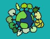 Planeta terra com árvores