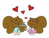 Esquilos apaixonadas