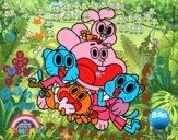 Gumball e amigos felizes