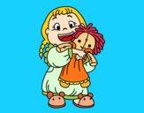 Desenho Menina com boneca pintado por ValSerra