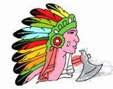 Índio com grandes plumas