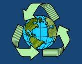 Desenho Mundo reciclagem pintado por Aki-chan