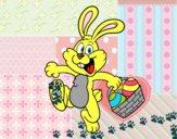 Coelho de vista de ovos de Páscoa