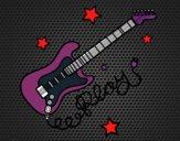 Desenho Guitarra e estrelas pintado por biinha