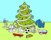 Desenho Árvore de Natal e brinquedos pintado por ameireles