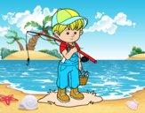 Desenho criança pescador pintado por ameireles