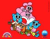 Desenho Gumball e amigos felizes pintado por DYGGJ