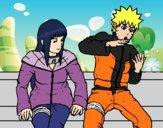 Desenho Hinata e Naruto pintado por Aki-chan