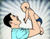 Desenho Pai e bebê pintado por livianf