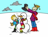 Desenho Pai e filho na neve pintado por ameireles