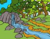 Desenho Paisagem da floresta com um rio pintado por florbelinh
