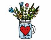 Desenho Pote com flores silvestres e um coração pintado por Mandy