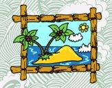 Desenho Quadro com palmeiras pintado por Aki-chan