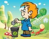 Criança reciclagem papel
