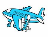 Avião levando bagagem
