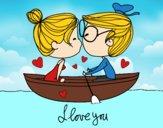 Beijo em um barco