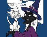 Desenho Bruxa e gato pintado por danielt