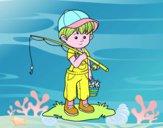 Desenho criança pescador pintado por VOVOTERESA