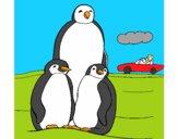 Desenho Familia pinguins pintado por ameireles