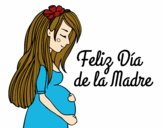 Desenho Mamã grávida no Dia da Mãe pintado por greicyrct