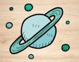 Desenho Satélites de Saturno pintado por Natani