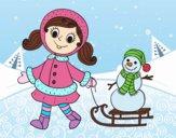 Menina com o trenó e boneco de neve
