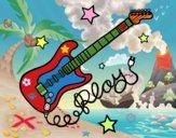 Guitarra e estrelas