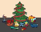 Desenho Árvore de Natal e brinquedos pintado por luzinda